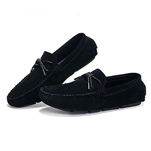 Hombres de Verano de Cuero Calzado para Parte la Inferior de en Casual Suave Calzado Negro conducción Transpirable vw0n8