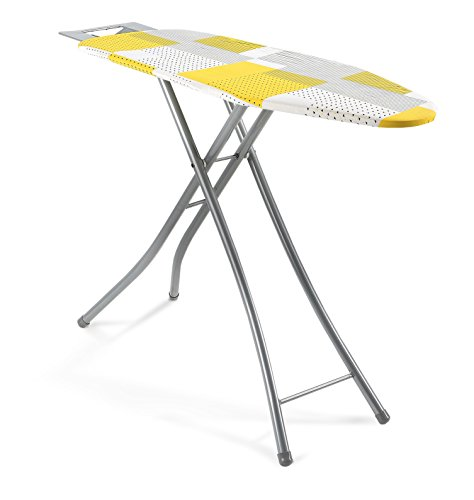 Homally 11031 Wide 48-Inch Mesh Top 4-Leg Ironing Board with Iron Rest, Yellow/Black