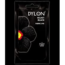 4 X 50g (gram) DYLON FABRIC DYE SACHETS FOR HAND USE - IDEAL FOR DYEING SMALL ITEMS SUCH AS SOCKS, VESTS, SHORTS ETC - A VARIETY OF COLOURS/SHADES AVAILABLE INCLUDING BLACK, BLUE, GREEN, PINK, YELLOW, ORANGE, BROWN, PURPLE, RED, NAVY AND GREY (VELVET BLACK 12) by Dylon