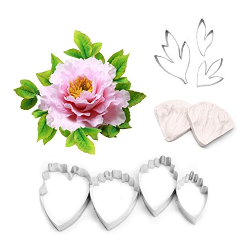 AK ART KITCHENWARE Leaf and Flower Tool Kit 7Pcs Stainless Steel Peony Cutter 2 Pcs Silicone Veining Mold Veiner Petal Texture Tool Sugar Flower Making Tool A356/A339&VM060 (Peony Flowers Cut)