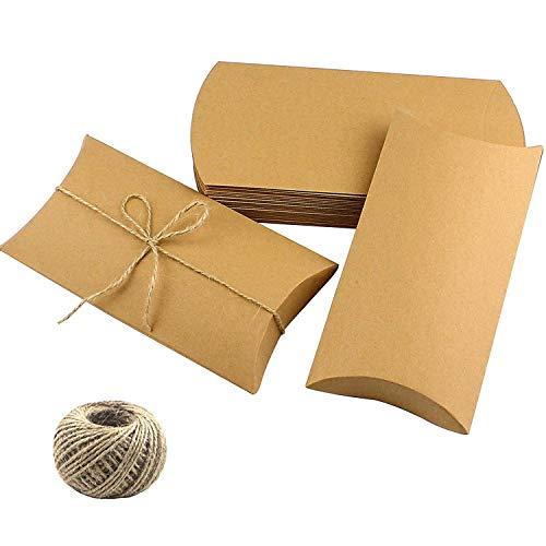CEWOR 50pcs Kraft Pillow Box 6.3