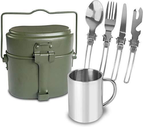 normani Outdoor Essgeschirr-Set bestehend aus Edelstahl Besteck, Tasse und BW Kochgeschirr