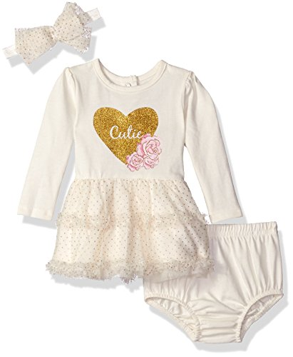 Vitamins Baby Baby Girls' Perfect Picture 3 Piece Sparkle Tulle Dress Set, Cutie, 6 Months