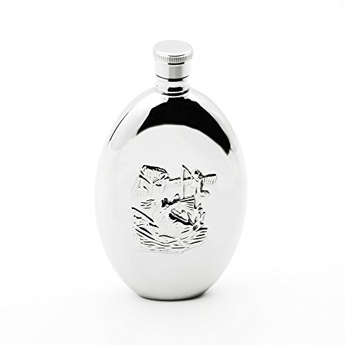 Savage 6oz Oval Hip Flask with Embossed Fishing Pattern 18/8 Stainless Steel in Mirrored Finishing by Savage