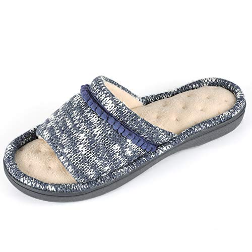 54abb1c38 RockDove Women s Knit Open Toe Slipper with Pom Embroidery