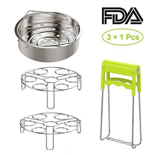 OIKA Steamer Basket with Instant Pot Accessories Set - Fits 5,6,8 Qt Instant Pot Pressure Cooker, Stainless Steel Steamer Basket/Egg Steamer Rack/Food Tongs(4 pcs)