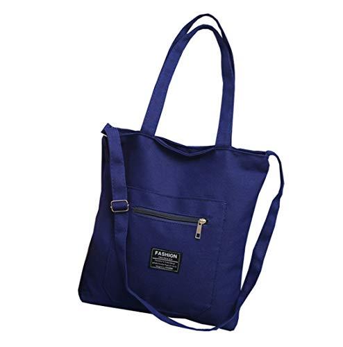FashionRun Women Canvas Tote Handbags Casual Shoulder Work Bag Crossbody Navy