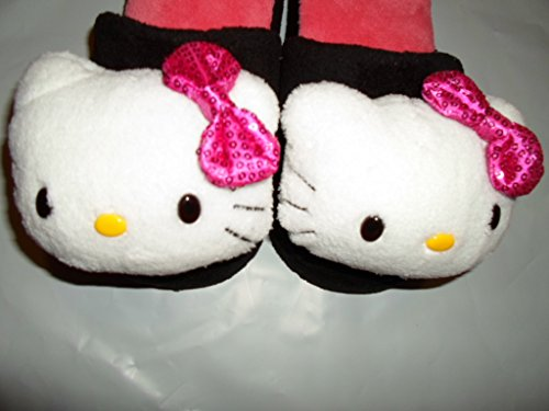 Hello Kitty Plush Head - Hello Kitty Plush Head Slippers Women Sequin Bow Black Size Small (5-6)