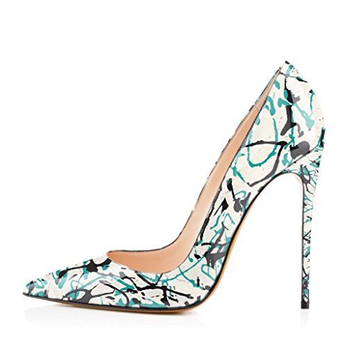US Shoes Formal Pointed Ink Pumps Dress Stiletto 4 Toe High FSJ Women Heel 15 Scrawl Party Size 6wvFdnq