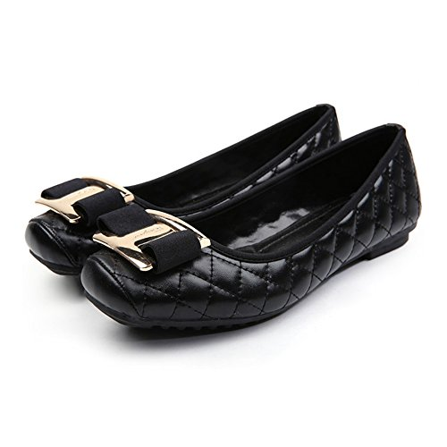 Metal Square Button black Bowknot Flat Thin 40 Shoes w4AnwqBC
