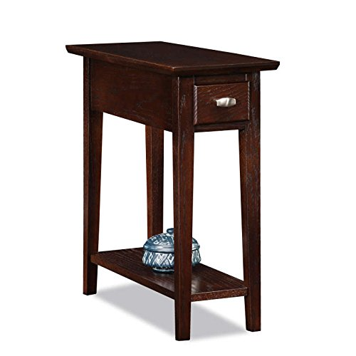 (ModHaus Living Modern Oak Living Room Narrow Nightstand Rectangle Wooden Brown Recliner Chair Side Table with Storage Drawer - Includes Pen)