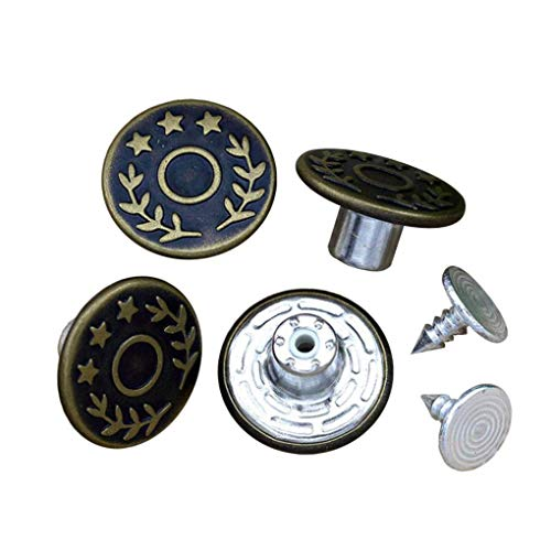 Replacement Rivets - G-Sunny 12 Sets Jeans Buttons Metal Button Snap Buttons Replacement Kit Suspender Buttons with Rivets and Plastic Storage Box (Bronze)