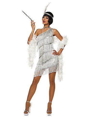 Dazzling Flapper Adult Costume Silver - Large