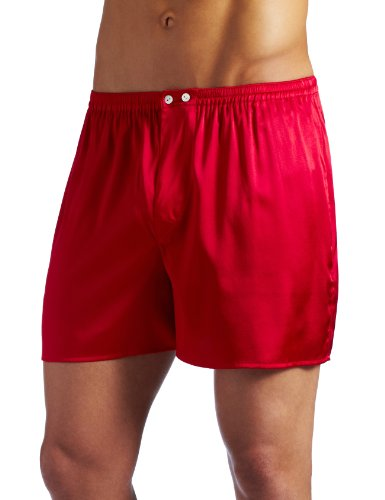 Intimo Men's Classic Stretch Silk Boxers, Red, X-Large