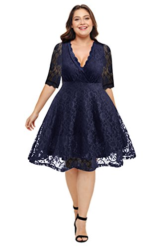 Women's Plus Size Lace Wedding Bride Bridal Party Dresses Navy Blue 14W-16W