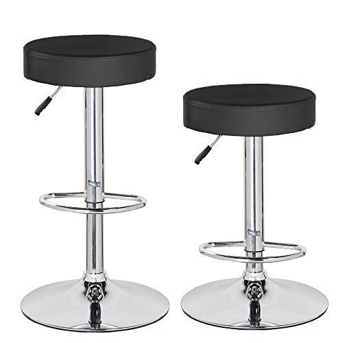 Anji Swivel Adjustable Backless Counter Height Leather Bar Stools Set of 2 with Round Seat and Chrome Base Black - Backless Chrome Swivel Bar Stool