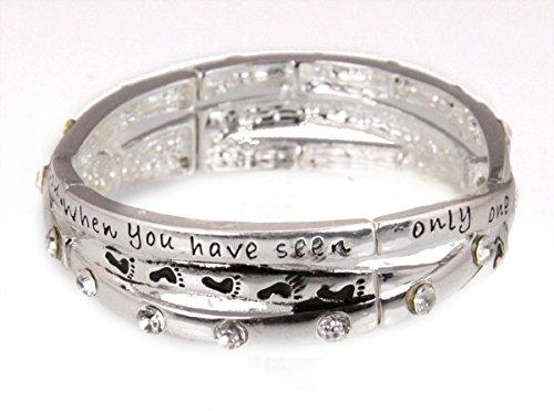 Poem Bracelet Gift Box (4030980 Footprints Weaving Christian Stretch Bracelet Jesus Religious Poem Bible)