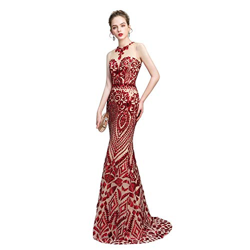 Leyidress Women's Sexy Sequins Trumpet Mermaid Dresses Red Evening Dress Long Party Prom Gown - Red Long Prom Dresses Mermaid