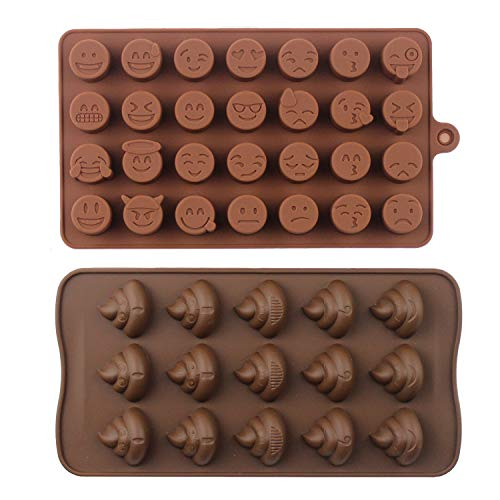 Emoji Chocolate Mold Poop Shaped Candy Making Molds Cute Silicone Baking Mould Ice Cube Tray Mini Pudding Gummy Maker (2 PCS Emoji)