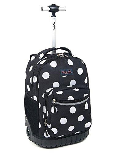 Tilami New Antifouling Design 18 Inch Human Engineering Design Laptop Wheeled Rolling Backpack Luggage for Girls (Black White Dot)