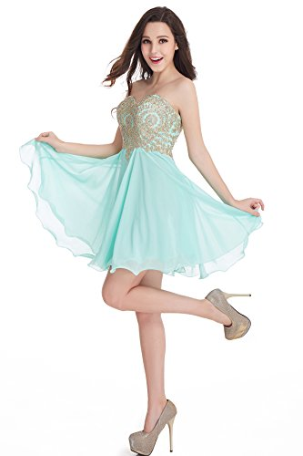 Babyonlinedress Short Prom Dress Bridesmaid Party Gowns Gold Appliques (Mint,6) Embellished Prom Gowns