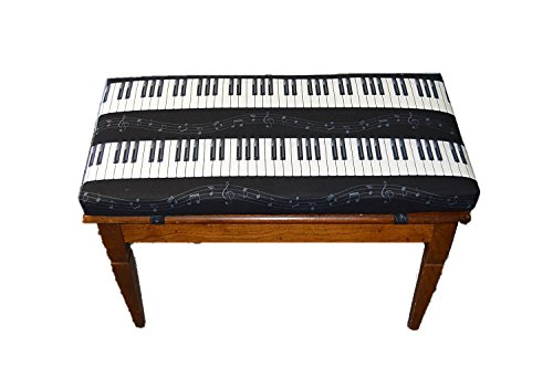 RSH Decor Premium 2'' Thick Foam Cushion for Piano Bench - 30'' X 14'' - Black and White Piano Key Music Note Stripe by RSH Decor (Image #1)