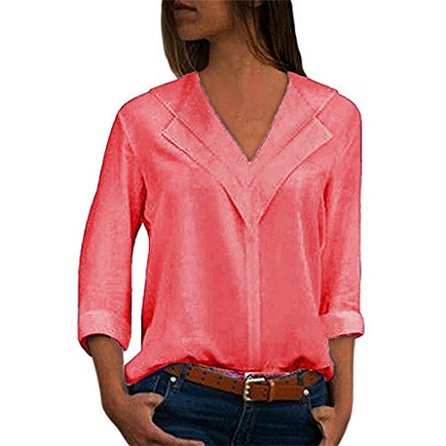 Driuankeji Women's Chiffon Solid Tops V-Neck Comfortable Office T-Shirt Ladies Roll Sleeve Fashion Blouse Pink