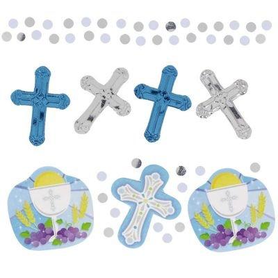 Amscan Sparkling Communion Confetti Party Decoration, Blue