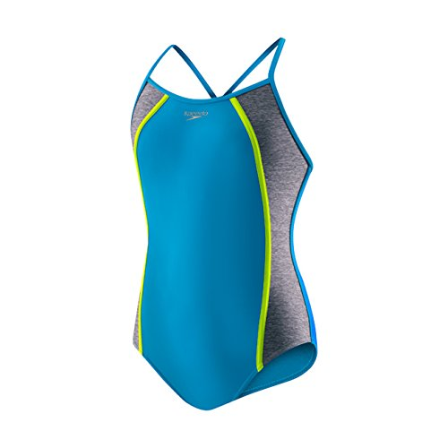 Speedo Girls Heather Splice One Piece Swimsuit, Cyan, Size 14