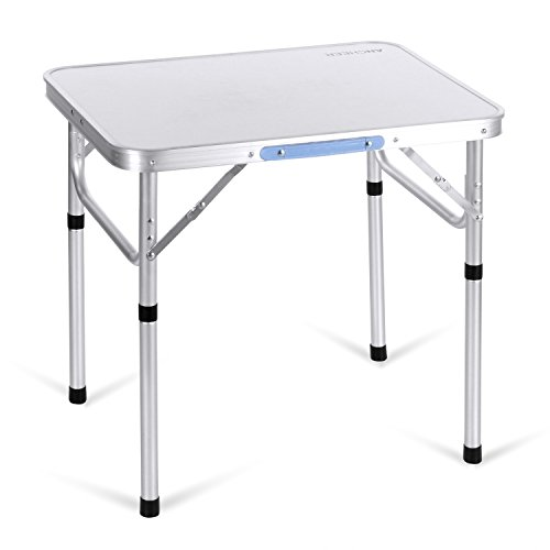 [Ancheer 2FT Aluminum Portable Folding Utility Table with Carrying Handle for Party Picnic Dining Camping Tailgating,Silver] (8 Utility Table)