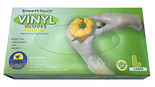 Sunset Powder Free Vinyl Gloves (Large)