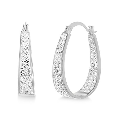 (Devin Rose Oval Inside Outside Hoop Earrings for Women Made With Swarovski Crystal in Rhodium Plated Brass)
