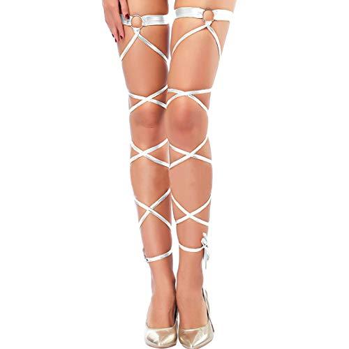 (Multifit Women Sexy Metallic Non-Slip Leg Wraps Gothic One Pair O-ring Leg Wraps for Raves Dancing Costumes Club Wear(Silver))