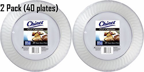 Chinet Cut Crystal Clear Plastic 10 inch Plates 20ct (2 Pack - 40 plates total) by Chinet