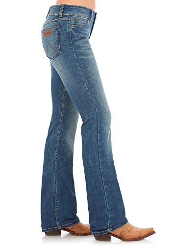Wrangler Women's Retro Mae Mid-Rise Patch Jeans Boot Cut Indigo 5W x 34L