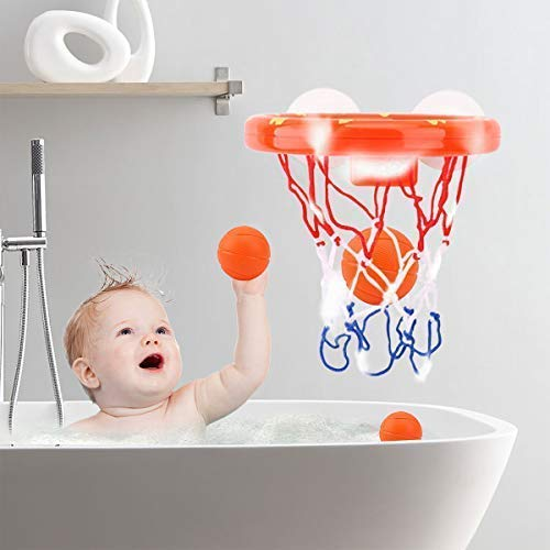 AZDENT Bathtub Basketball Hoop and 3 Balls for Kids Suction Baby Bath Toys Gift Sets .