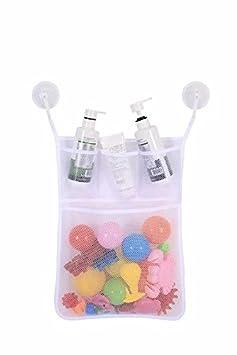 para cuarto de ba/ño y ba/ñera Malla bolsa de almacenamiento soporte con ventosa organizador de juguetes