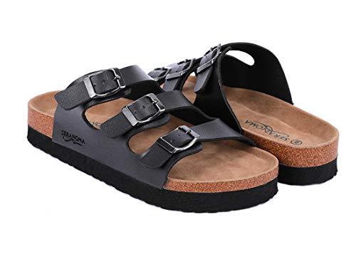 (Seranoma Women's Triple Adjustable Buckle Platform Slide | Open Toe Slip On | Summer Cork Sandal | High Platform | Metal Buckle Black)