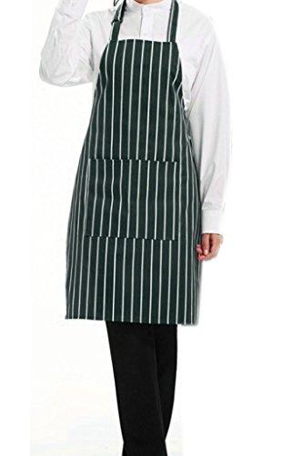 - Nanxson(TM) Unisex Bib Apron Striped Long Bistro Apron with Pockets AL8041 (green strip)