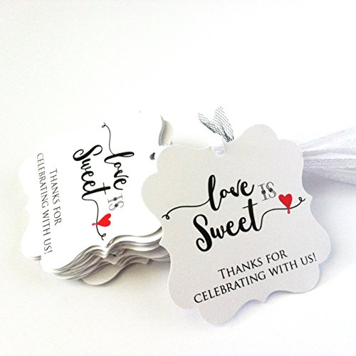 Love is Sweet Favor Tags with Ribbon - Thanks for Celebrating with Us Party Gift Tags - Set of 24 (Favor Wedding Set Tags)