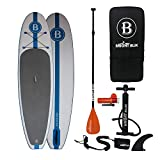 """BRIGHT BLUE Inflatable Stand Up Paddle board with Pump, Paddle, Backpack,Coiled Leash,Fin, 10'6"""""""