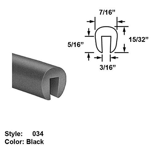 Neoprene Rubber U-Channel Push-On Trim, Style 034 - Ht. 15/32'' x Wd. 7/16'' - Black - 25 ft long by Gordon Glass Co.
