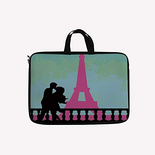 3D Printed Double Zipper Laptop Bag,The Eiffel Tower Valentines Day Hand Drawn,10 inch Canvas Waterproof Laptop Shoulder Bag Compatible with 9.7