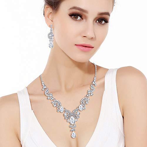 EVER FAITH Austrian Crystal Bridal Floral Wave Teardrop Necklace Earrings Set 2