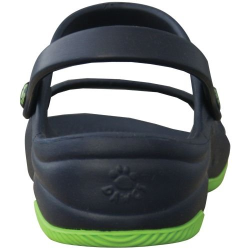 DAWGS Women's Premium 3-Strap Sandal with Rubber Sole Navy with Lime Green
