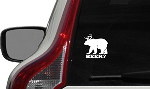Bear Deer Beer? Antler Horn Car Vinyl Sticker Decal Bumper Sticker for Auto Cars Trucks Windshield Custom Walls Windows Ipad Macbook Laptop and More (WHITE) ()