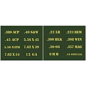 Raiseek .22 .223 .308 .30 .357 9MM .380 .40 .45 5.56 7.62 12GA Ammo Can Vinyl Skin Sticker Decal Molon Label Bullet16 Pcs/Set Variety