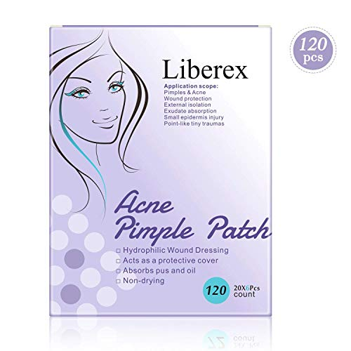 Liberex Acne Pimple Master Patch - 60 Spot Patches Hydrocolloid Absorbing Dressing Bandages Cover, Φ12mm, 20 Dots x 3 Sheets -