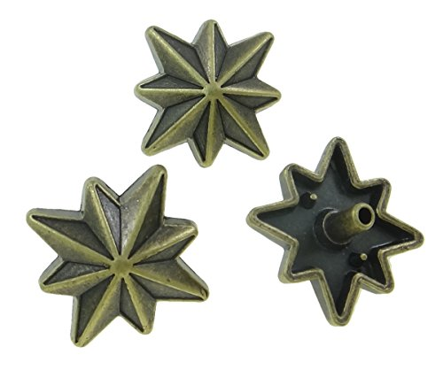 10Sets Antique Brass Eight Point Star Rivet Leather Concho RV072 (Antique Brass Concho)