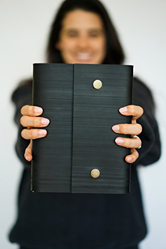 Notebook Journal From Recycled Tires by Streamlet. 100% Environmentally Smart. Handmade with Tire Cover, Vegan Leather Straps, 8x6 Inches, 240 Blank Pages. Compare to Quality Leather BRONZE by STREAMLET (Image #5)